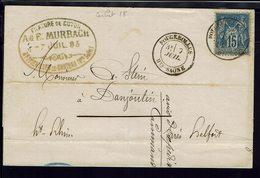 """FR - 1883 """"Filature De Coton A. & F. Murbach à Fougerolles-le-Château"""" Sage 15 C Sur Lettre Pour Danjoutin - B/TB - - Marcophilie (Lettres)"""