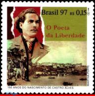 Ref. BR-2615 BRAZIL 1997 - ANTONIO DE CASTRO ALVES,, THE POET OF FREEDOM, MI# 2736, MNH, FAMOUS PEOPLE 1V Sc# 2615 - Ecrivains