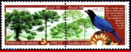 Ref. BR-2678A BRAZIL 1998 BIRDS, NATURE, FLORA AND FAUNA,, TREES, MI# 2875-76, SET MNH 2V Sc# 2677-2678 - Brésil