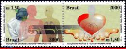 Ref. BR-2766 BRAZIL 2000 - ORGAN DONATION AND, TRANSPLANTATION, HEART, MI# 3099-00, MNH, HEALTH 2V Sc# 2766 - Medicine
