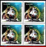 Ref. BR-2896-Q BRAZIL 2003 RAILWAYS, TRAINS, ANTONINA-MORETTES,, TRANSPORT, MI# 3323, BLOCK MNH 4V Sc# 2896 - Treni