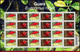 Ref. BR-2921A-2-FO BRAZIL 2004 ANIMALS, FAUNA, MANED, BIRDS,, SHEET PERSONALIZED MNH 12V Sc# 2921A - Brazil
