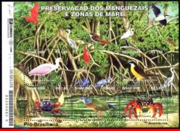 Ref. BR-2926 BRAZIL 2004 ANIMALS, FAUNA, PRESERVATION OF MANGROVE, SWAMPS, BIRDS, CRAB, MI# B127, S/S MNH 5V Sc# 2926 - Brazil