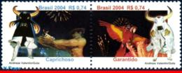 Ref. BR-2929 BRAZIL 2004 FOLKLORE, PARINTINS FESTIVAL,, PARROT, BIRDS, OX, MI# 3374-75, SET MNH 2V Sc# 2929 - Vaches