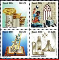 Ref. BR-2934 BRAZIL 2004 FREEMASONRY, MASONIC TRADITIONS,, FREEMASON, MASONRY, MI# 3383-86,SET MNH 4V Sc# 2934 - Franc-Maçonnerie