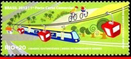 Ref. BR-3218L BRAZIL 2012 RAILWAYS, TRAINS, RIO+20, UN, TRANSPORT, MEANS GREENS, TRAIN, BIKE, MNH 1V Sc# 3218L - Trains