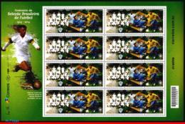 Ref. BR-3279-FO BRAZIL 2014 FOOTBALL-SOCCER, CENTENARY OF BRAZILIAN, FOOTBALL/SOCCER TEAM, SHEET MNH 24V Sc# 3279 - Blocks & Sheetlets