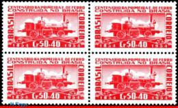 Ref. BR-781-Q BRAZIL 1954 RAILWAYS, TRAINS, CENT.THE FIRST RAILROAD,, FIRST BRAZILIAN LOCOMOTIVE,BLOCK MNH 4V Sc# 781 - Brasile