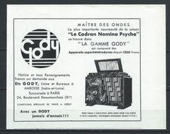 Publicité - Radfio Gody TSF - Document D'époque Issu D'une Revue Taille +- Carte Postale - Publicités