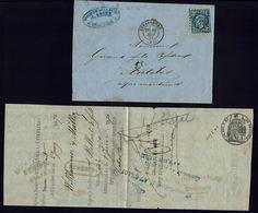 """FR - 1870 """"Brasserie De La Hache Jansen à Strasbourg"""" 20 C Empire Losange GC 3465, Sur Lettre Pour Antibes, Avec Traite. - Marcophilie (Lettres)"""