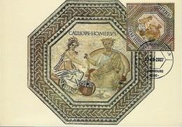 3.9.2007  -  Mosaique De Vichten,vers 240 Ap. J.C.  Calliope,Musé De La Poésieépique,et Homère,le Prince Des Pôetes - Cartes Maximum