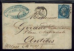 """FR - 1866 """"Brasserie Koenigshoffen Gruber & Reeb Strasbourg""""  20 C Empire, Losange GC 3465 Sur Lettre Pour Antibes - - Marcophilie (Lettres)"""