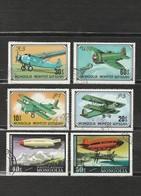 Mongolie - Lot 6 Timbres Les Avions - Année 1976 YT 873 875 871 874 -année 1977 PA 87 PA 88 - Mongolia