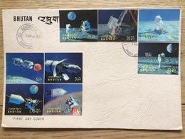Bhutan 1969, FDC 3D Apollo 11 Moon Landing Holographic Space Stamps - Bhutan