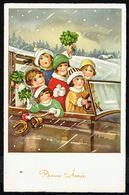 """ENFANT - CP -  6 Enfants Dans Une Voiture Avec Trèfles à 4 F. - """" Bonne Année """" - Circulé - Circulated - Gelaufen -1939. - Niños"""
