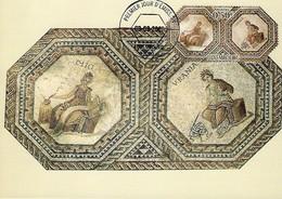 3.9.2007  -  Mosaique De Vichten,vers 240 Ap. J.C. Clio,Musé De L'histoire Et Uranie,Musé De L'astronomie - Cartes Maximum