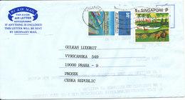 Singapore Aerogramme Sent To Czechoslovakia 16-12-1993 - Singapore (1959-...)