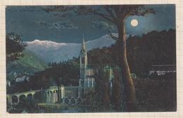 9AL1357 LOURDES VUE SUR LA BASILIQUE ET LES PYRENEES LA NUIT 2 SCANS - Lourdes