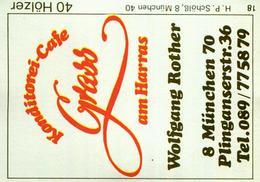 1 Altes Gasthausetikett, Konditorei – Cafe Grass Am Harras, Wolfgang Rother, 8000 München, Plinganserstr. 36 #54 - Boites D'allumettes - Etiquettes