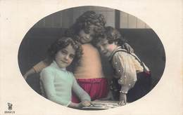 BEAUTIFUL YOUNG GIRLA & CUTE BOY-FAUVETTE OVAL WINDOW 1912 COLOR PHOTO POSTCARD 40752 - Kinder