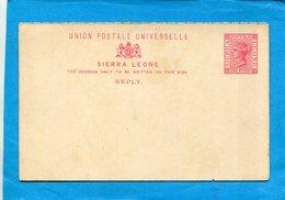 SIERRA LEONE-carte Entier Postal-postal Stationneryneuf***  One Penny Victoria Années 1885 - Sierra Leone (...-1960)