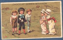 Chromo Chocolat Guerin-Boutron Dorée Or Vallet Minot Fillettes à La Campagne Rencontre Voyageurs Sur La Route - Guerin Boutron