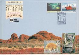 Australian Antarctic Territory Exhibition Card Phila Nippon 91 Franked Sc L81-L82 Cancel Penguins - Australian Antarctic Territory (AAT)