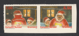 Greenland 2010 MNH Sc 580,581 Santa Claus And Children Christmas Booklet Pair - Groenland