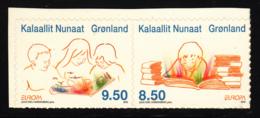 Greenland 2010 MNH Sc 566,565 Children Reading Books EUROPA Booklet Pair - Groenland