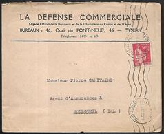 LF C50  Enveloppe De 1937 De Tours Timbre N°283 - Marcophilie (Lettres)