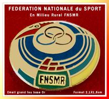 SUPER PIN'S FERATION NATIONALE Du SPORT NATIONAL En MILIEU RURAL : Email Grand Feu Base Or, 2,1X1,6cm - Pin
