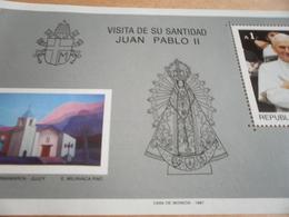 Miniature Sheets Visit Of Pope John Paul 1987 - Argentina