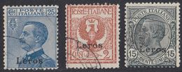 ITALIA - LEROS - 1912 - Lotto Di 3 Valori Usati: Unificato 1, 4 E 5. - Egeo (Lero)