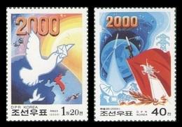 North Korea 2000 Mih. 4344/45 Millenium. Space. Satellites. Rocket. Computer. Fauna. Birds. Pigeons MNH ** - Korea (Nord-)