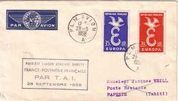 PARIS - PLM AVION - 28-9-1958 - 1er LIAISON AERIENNE DIRECTE FRANCE-POLYNESIE FRANCAISE - PAR TAI 28-9-1958 - Airmail