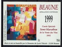 THEME SPORT étiquette De Vin BEAUNE CUVEE SEMI-MARATHON / COURSE A PIED - Soccer