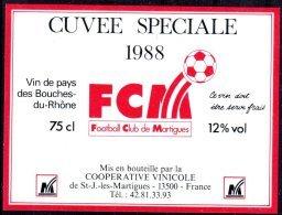 THEME SPORT étiquette De Vin PAYS DES BOUCHES DU RHONE / FOOTBALL CLUB DE MARTIGUES - Soccer