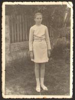 Child School Girl Outside  Old Photo 9x12 Cm #28400 - Persone Anonimi