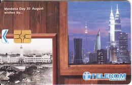 MALAYSIA(chip) - Kuala Lumpur, Merdeka Day 31 August Wishes By..., Telecom Malaysia Telecard RM10, Chip GEM3.3, Used - Malaysia