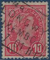 """Luxembourg N°73 10 Centimes Rose Obl Cachet Rectangle Ambulant """"Longwy Luxembourg"""" RR - 1895 Adolphe Right-hand Side"""