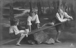 YOUNG GIRLS & BOY PLAYING ON SEESAW WITH CAT PHOTO POSTCARD 40765 - Other