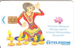 MALAYSIA(chip) - Selamat Menyambut Deepavali, Telecom Malaysia Telecard RM10, Chip GEM3.3, Used - Malaysia