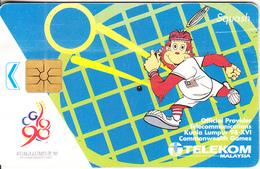"MALAYSIA(chip) - Kuala Lumpur ""98/XVI Commonwealth Games/Squash, Telecom Malaysia Telecard RM20, Chip GEM1.2, Used - Malaysia"