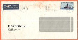 TURCHIA - TURKEY - 1961 - 130 TCG Gelibolu + Flamme - Par Avion - Dayfor Ltd - Viaggiata Da Karaköy - 1921-... Repubblica