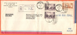 CANADA - 1967 - 2 X 15 + 50 - Registered Air Mail - Viaggiata Da Shediac Per Zurich, Suisse - 1952-.... Reinado De Elizabeth II
