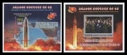 North Korea 2017 Mih. 6414B/15B (Bl.956B/57B) Intercontinental Ballistic Missile Hwasong-14 (II) (imperf) MNH ** - Korea, North