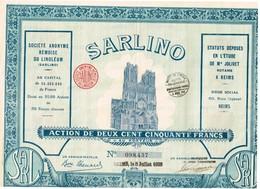 """Ancien Titre - Société Anonyme Rémoise Du Linoleum """"SARLINO""""  -Titre De 1928 - VF - Industrie"""