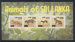 Sri Lanka 1980 Animals Of Sri Lanka Surch. MS MUH - Sri Lanka (Ceylon) (1948-...)