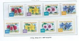 Australia 1999 45c Coastal Flowers SNP & Pemara Peel & Stick Strips Of 4 MNH - Nuovi