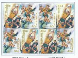 Australia 1999 Test Rugby Centenary 45c X 2 Se-tenant Blocks Of 4 Both Positions MNH - Nuovi